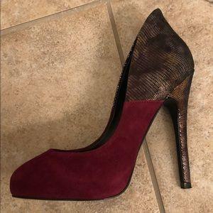Aldo Maroon Seude-ish Metallic Heels